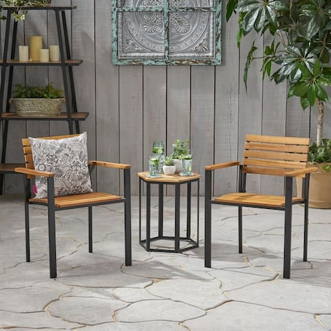 Laris Outdoor Wood Dining Chairs (Set of 2) by Christopher Knight Home