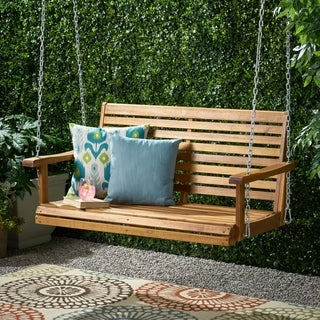 Tasmania Outdoor Aacia Wood Porch Swing by Christopher Knight Home