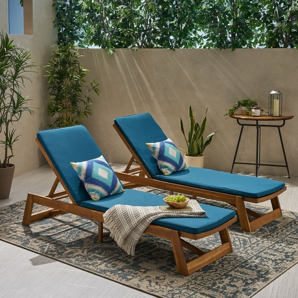 Shop Maki Outdoor Acacia Wood Chaise Lounge And Cushion
