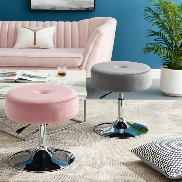 Art-Leon Round Velvet Stool with Adjustable Swivel Base - N/A. Opens flyout.