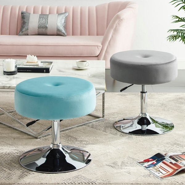 Shop Art Leon Round Velvet Vanity Stool With Adjustable