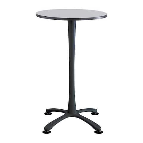 """Safco Cha-Cha 30"""" Round Bistro Height Table with X Base - Gray Top and Black Base"""