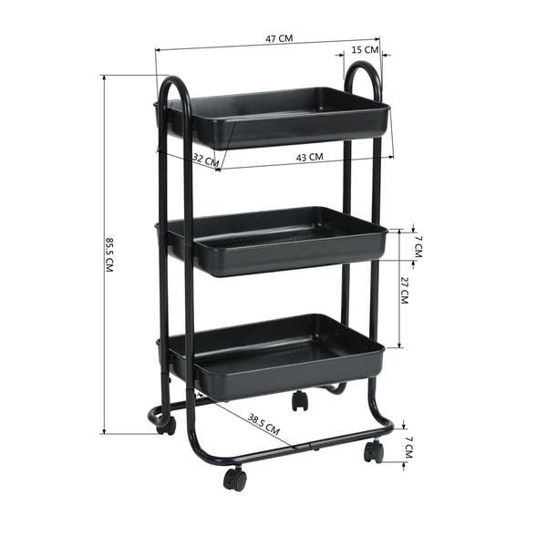 Shop FurnitureR 3 Tiers Rolling Trolley Kitchen Cart with ...