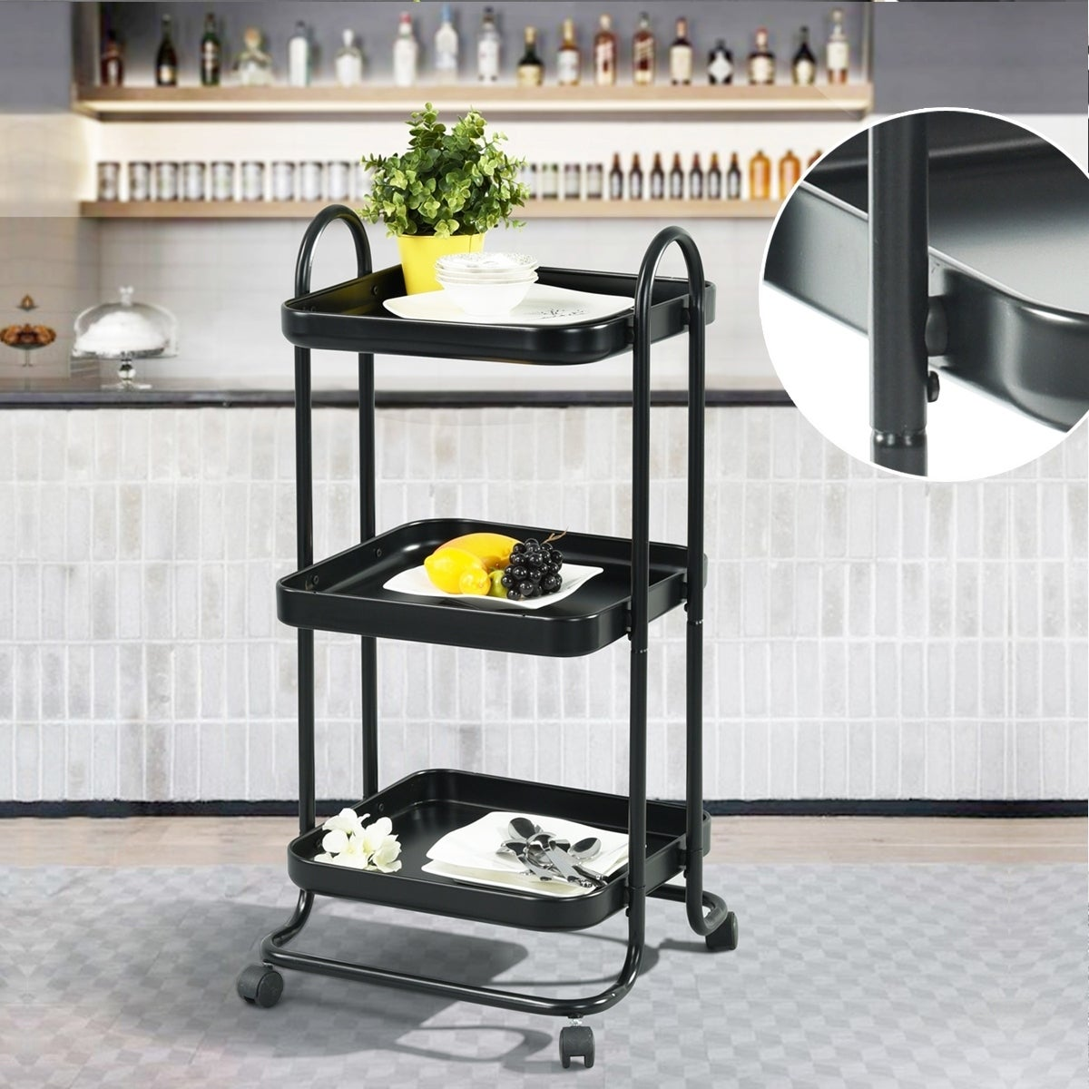 FurnitureR 3 Tiers Rolling Trolley Kitchen Cart with Wheels Black