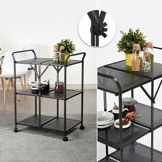 Carbon Loft Searz Folding Storage Rack Metal Rolling Trolley Kitchen Cart