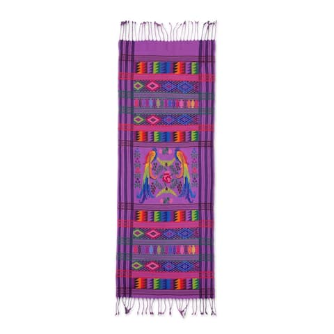 Handmade Lilac QuetzalCotton table runner (Guatemala)