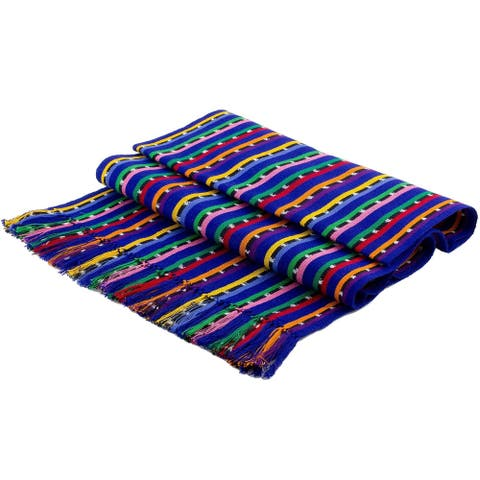 Handmade Multicolored PathsCotton table runner (Guatemala)