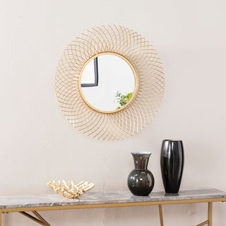 Silver Orchid Rondu Transitional Gold Metal Wall Mirror - Bright Brass