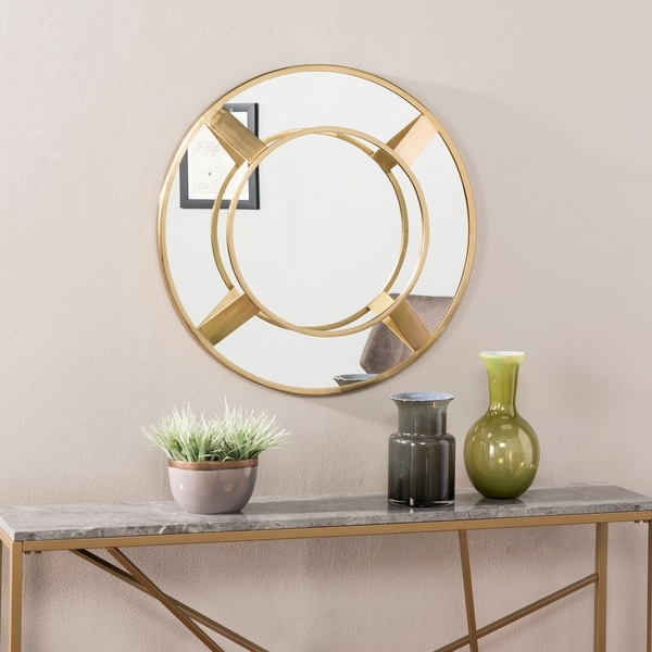 Silver Orchid Welix Modern Vintage Gold Metal Wall Mirror - Bright Brass
