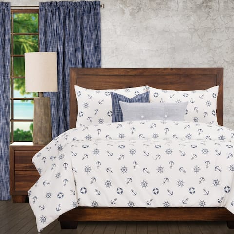 Ernest Hemingway Ships Wheel Nautical 6 Piece Duvet Cover Set with Duvet Insert