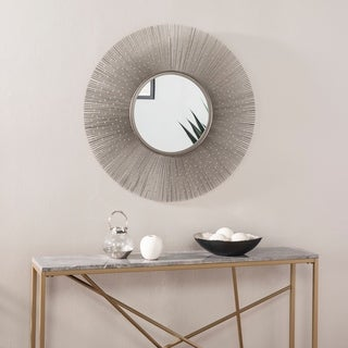 The Curated Nomad Romu Industrial Metal Wall Mirror - Gunmetal gray/ Bright brass
