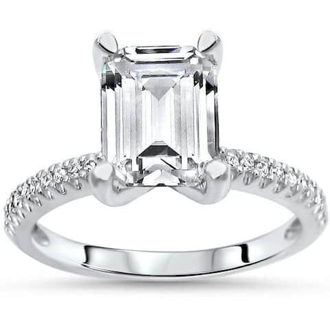 1.85ct TGW Emerald Cut Moissanite and Diamond Engagement Ring 14k White Gold