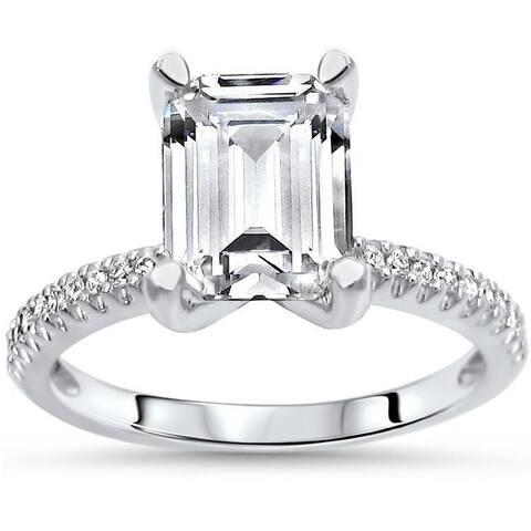 2.60ct TGW Emerald Cut Moissanite and Diamond Engagement Ring 14k White Gold
