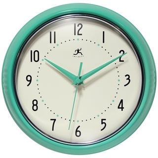 Round Retro 9.5 inch Wall Clock Silent Quartz Movement by Infinity Instruments