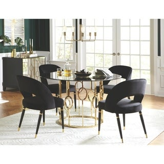 Modern Design Gold Frame with Velvet Chairs Round Dining Set with Server