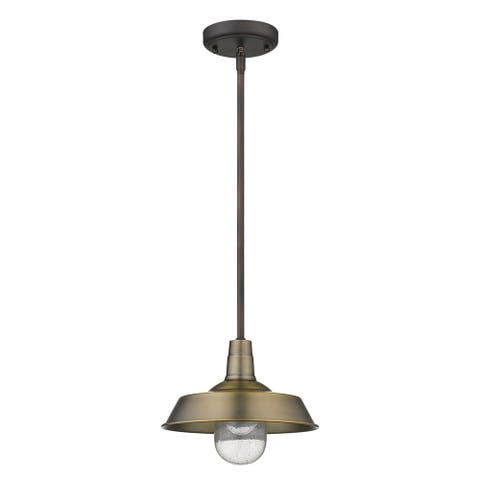 Burry 1-light Antique Brass Exterior Convertible Pendant