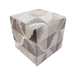 Noori Rug Decor Maisonette Geometric Braxton Grey Hide Pouf