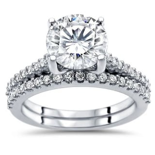 Link to 2.05ct TGW Round Moissanite and Diamond Engagement Ring Bridal Set 14k White Gold Similar Items in Rings