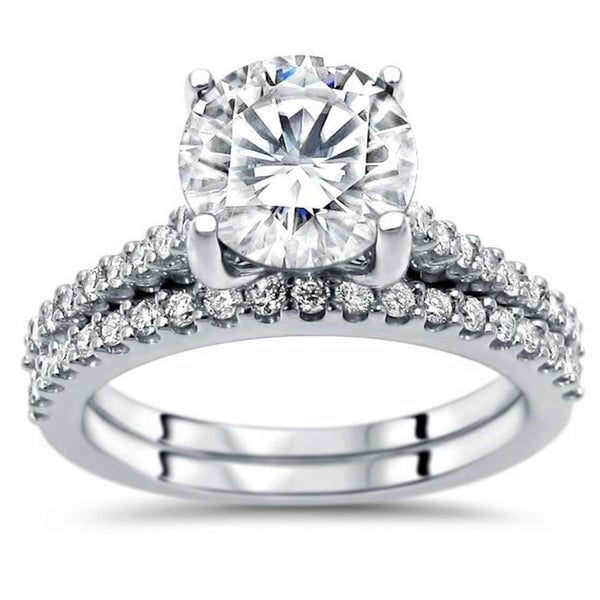 2.05ct TGW Round Moissanite and Diamond Engagement Ring Bridal Set 14k White Gold. Opens flyout.