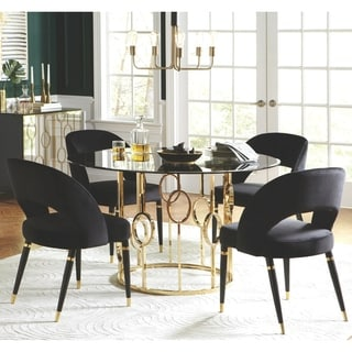 Modern Design Gold Frame Smoked Glass Top Round Dining Set with Velvet Chairs
