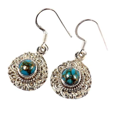Handmade Sterling Silver Blue Copper Turquoise Earrings (India)