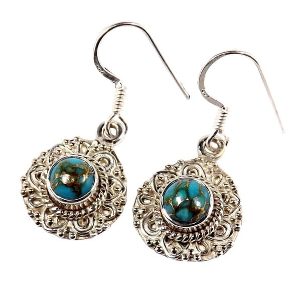 Handmade Sterling Silver Blue Copper Turquoise Earrings (India). Opens flyout.