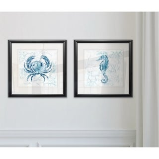Link to Wexford Home 'Blue Marble Coast Crab' 2-piece Framed Wall Art Set Similar Items in Matching Sets