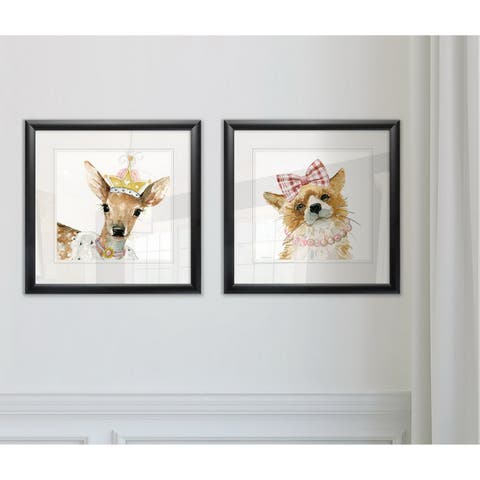 Wexford Home 'Glamour Girls Deer' Framed Giclee Wall Art (Set of 2)