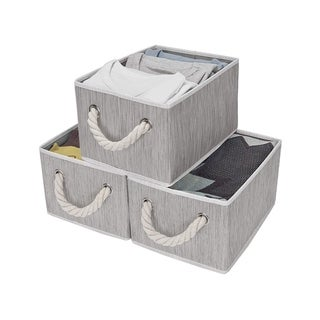 StorageWorks Foldable Fabric Storage Bin w/Cotton Rope Handles, Clay , 2-Pack