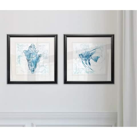 Wexford Home 'Blue Marble Coast Shell' Framed Set