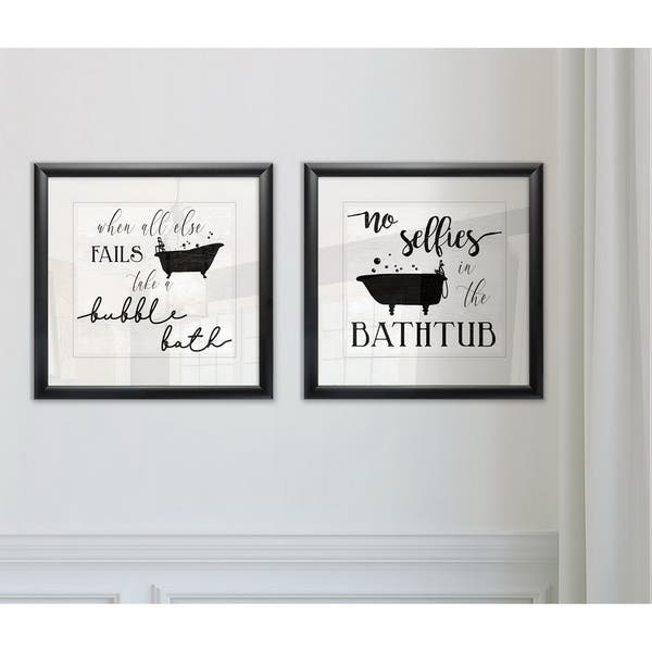 Wexford Home Take A Bubble Bath Framed Giclee Print Set Of 2 Overstock 28218302