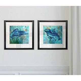Link to Wexford Home 'Deep Sea Dolphins' 2-piece Framed Wall Art Set Similar Items in Matching Sets