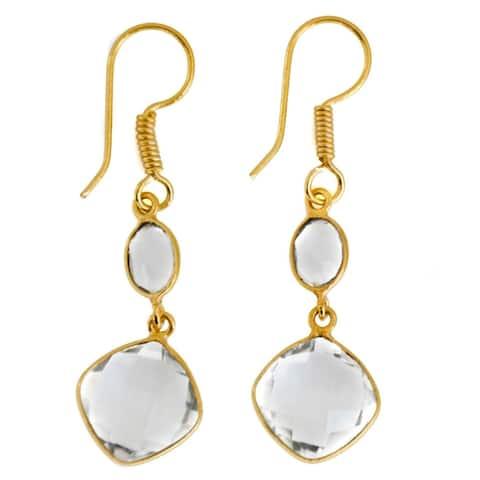 Handmade Gold Overlay Crystal Quartz Earrings (India)