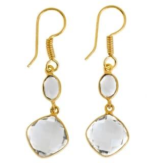 Link to Handmade Gold Overlay Crystal Quartz Earrings (India) Similar Items in Earrings
