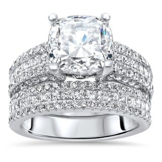 Link to 5.60ct TGW Cushion Cut Moissanite and Diamond Engagement Ring 14k White Gold Similar Items in Rings