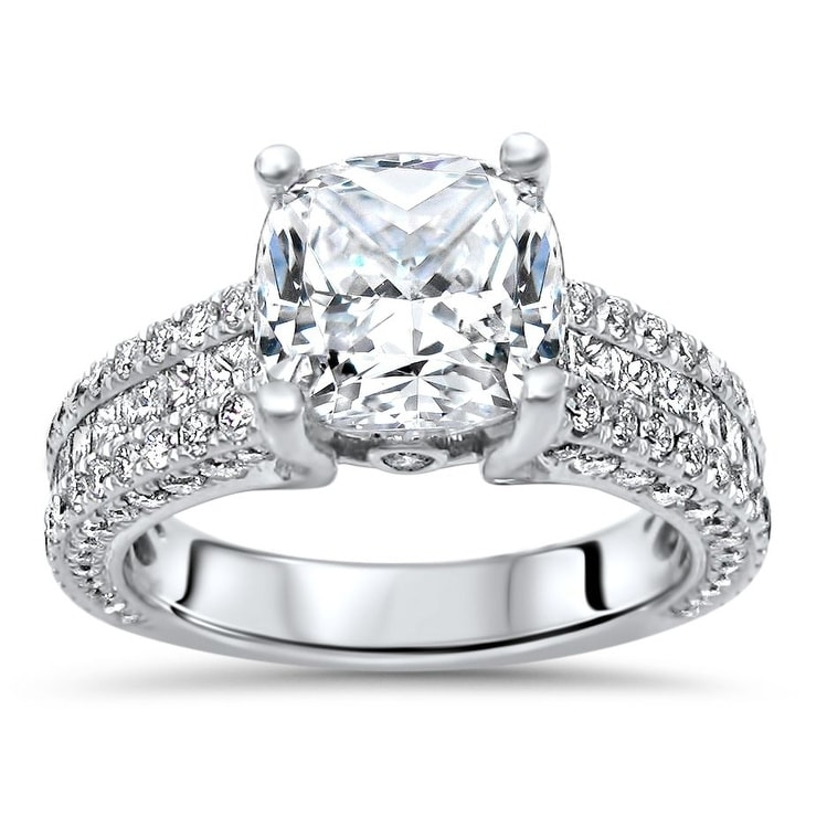 1 Ct Solitaire Moissanite Round Cut Halo Engagement Ring 14k White Gold Finish