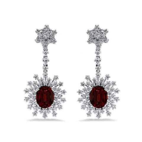 Auriya Fancy 5 5/8ct Oval-cut Garnet Gemstone and 1 7/8ctw Dangling Halo Diamond Earrings 18K Gold