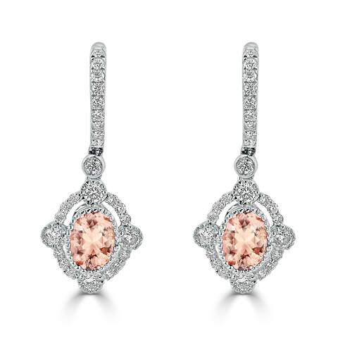 Auriya 1 1/4ct Oval-cut Morganite Gemstone and 7/8ctw Halo Diamond Dangling Earrings 18K Gold