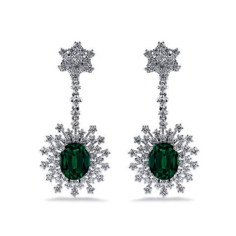 Auriya Fancy 4 9/10ct Oval-cut Emerald Gemstone and 1 7/8ctw Dangling Halo Diamond Earrings 18K Gold