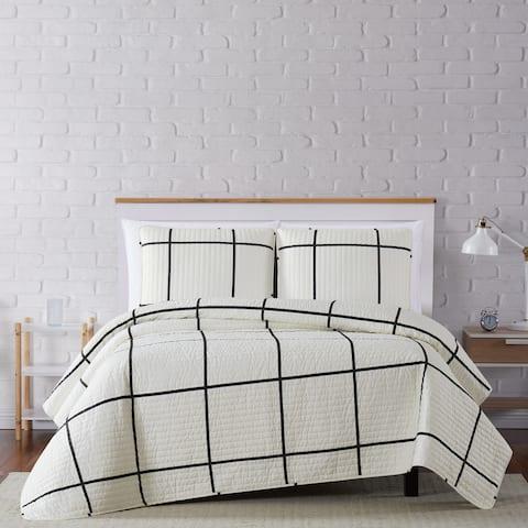 Carson Carrington Tomnas Modern Windowpane 3-piece Quilt Set (As Is Item)