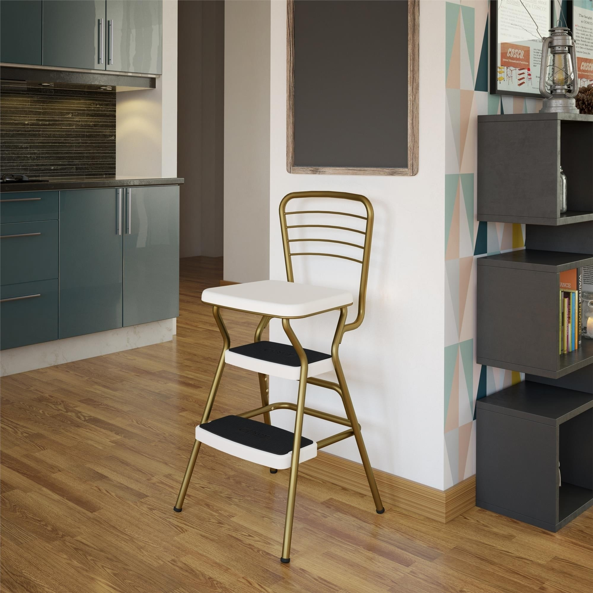Remarkable Cosco Stylaire Retro Chair Step Stool With Flip Up Seat N A Machost Co Dining Chair Design Ideas Machostcouk