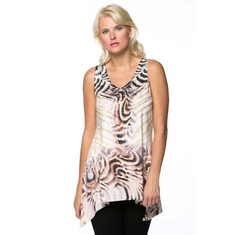Women's Animal Print Sleeveless Top with Rhinestones