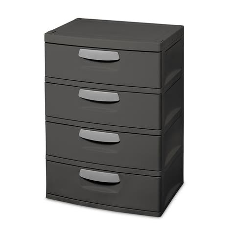 Sterilite, 4-Drawer Unit, Flat Gray