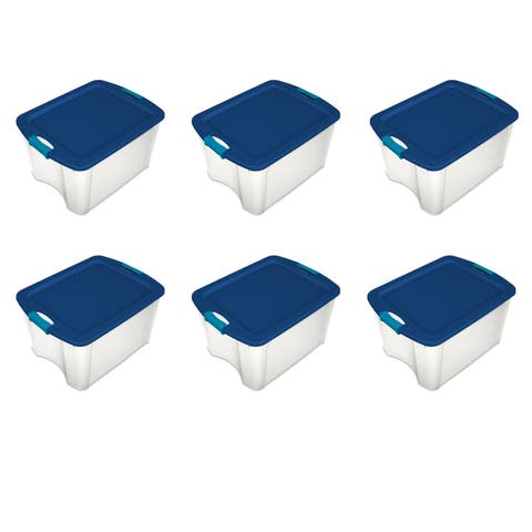 Sterilite Storage Bins 12 Gallon Latch and Carry Clear/ True Blue - Case of 6