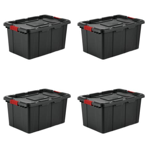STERILITE 27 Gallon Industrial Storage Totes, Black - Case of 4