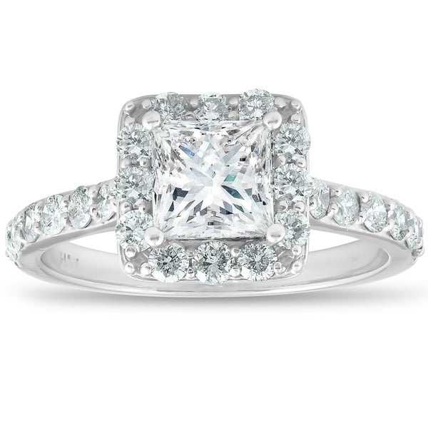 Shop 14k White Gold 2 Ct TDW Princess Cut Diamond Halo ...