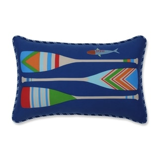 Pillow Perfect Lake Life Oars Blue Outdoor/Indoor Accent Pillow