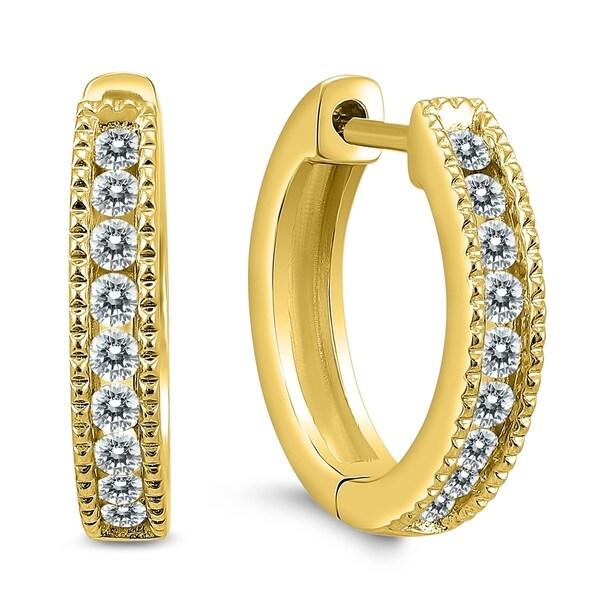 584ef073f 1/4 Carat TW Small Diamond Channel Set Huggie Hoop Earrings in 10K Yellow  Gold
