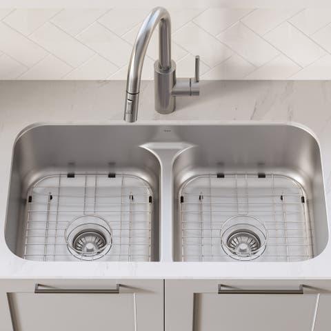 Kraus KBU32 Undermount 32 inch 2-Bowl Stainless Steel Kitchen Sink