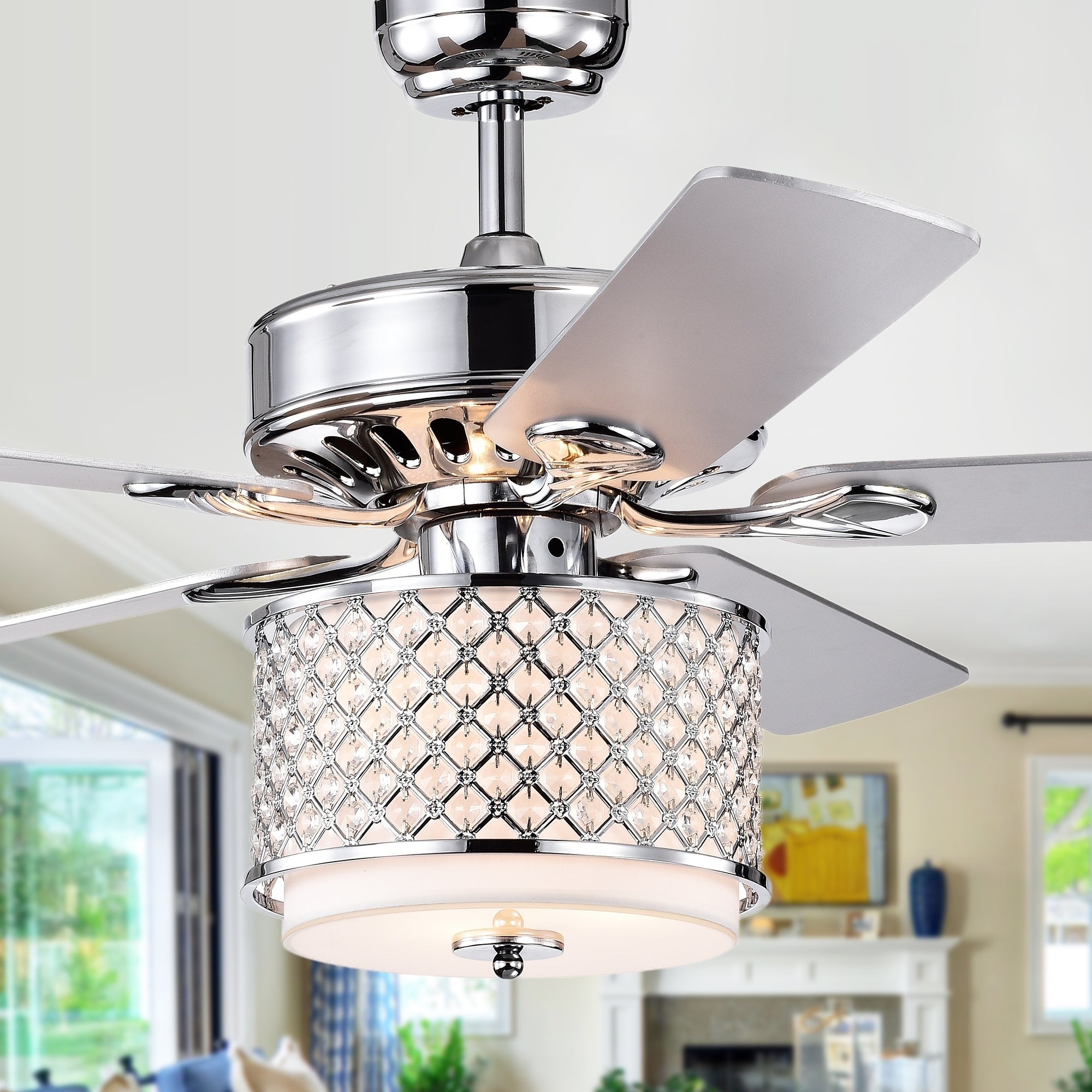 Shelee Chrome 52 Inch 5 Blade Lighted Ceiling Fan With Gl Crystal Shade Incl Remote 2 Color Option Blades